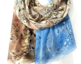 Hand Painted Scarf. Silk Shawl Birds Floral Scarf. Hand Painted Silk Painting. Genuine Authentic Anniversary Gift. 18x71in MADE to ORDER