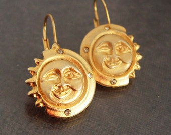 Vintage Moon Sun earrings Rhinestone gold star pierced earrings womens jewelry bride gift bridesmaid graduation celestial mystical