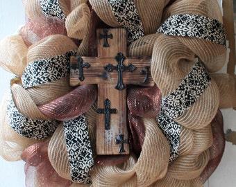 Burlap cross wreath, front door wreath, wooden cross wreath, shabby chic decor