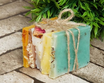 Soap samples gift for her, bath gift, natural handmade soaps, 5 soap bar samples