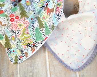 Winter Bandana Bibs Set of Two, Bibdana, Pom-Pom, Cotton & Flannel, Baby, Toddler, Boys, Girls, Scandinavian, Deer, Woodland, Gift set