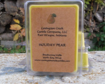 Holiday Pear Pure Soy 3 or 6 ounce Breakaway Melt.