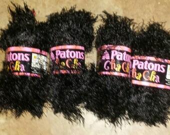 "Patons Cha Cha Fun Fur Eyelash Yarn ""Black""- Yarn Destash-crochet supplies-eyelash yarn"