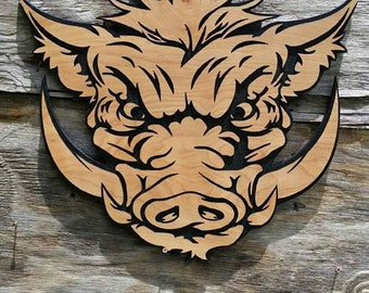 Wild Boar Hog Wall hanging Wooden Country Wall Decor Pig Hunting Wall Decor