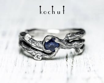 Silver twig ring, branch ring, silver sapphire twig. Silver sapphire ring, sterling silver branch ring by Kochut.