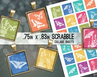 Watercolor Nature Butterflies Collage Sheet Scrabble Tile Images .75x.83 on 4x6 and 8.5x11 Download Sheets for Glass or Resin Pendants