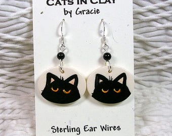 Black Cat Oval French Wire Earrings Clay With Stone Bead Handmade GMS