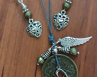 Good Luck Coin Heart, Angel Wing Necklace set, Valentines Gift, boho jewelry, lucky Coins, angel wing Jewelry
