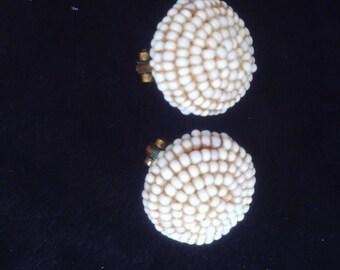 Cute vintage bead earrings. Like little white snowballs.