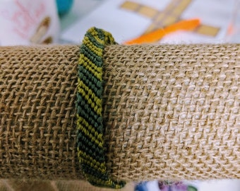 Green and yellow rows pattern friendship bracelet