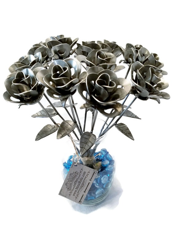 One Dozen (12) Metal Steel Forever Roses created by Welding Scrap Metal Steampunk Style making Unique Gifts and Modern Rustic Home Decor!