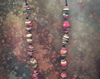 Multicolored beaded necklace, Handmade Necklace, Oval necklace, Paper Bead Necklace, OOAK necklace, Beaded jewelry Item 213