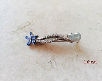High Quality Blue Crystal Rhinestone Hair Alligator Clip Flower Wedding Bridal Accessory
