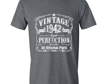 75th Birthday, 1942 Birthday, 1942 Gift for Him. Men's Tshirt, 75th Birthday Gift, 75th Birthday Idea, 75 Birthday Present, 75 GRAY 1942