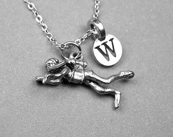 Scuba Diver Necklace, Diver Necklace, Scuba diving charm, Personalized jewelry, initial necklace, monogram, antiqued, silver plated pewter