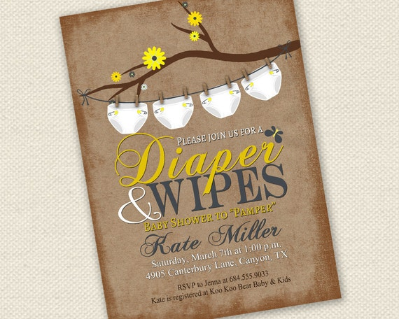 Attractive Baby Shower Invitation Diaper And Wipes Baby Shower