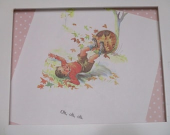 Vintage Dick and Jane Book Plate-Dick-Nursery-Bedroom-Scrapbooking-Wall Decor-Dick-Fall-Leaves-Cottage Decor