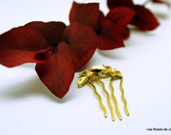 leaves hair comb gold comb