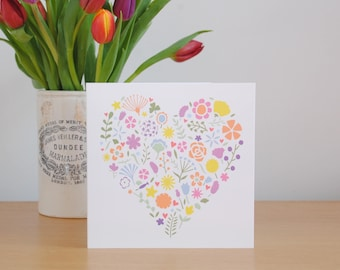 Pretty pastel flower heart card – Pretty floral card – card for mum – card for Mom – card for grandma – Mother birthday card – Mother's Day