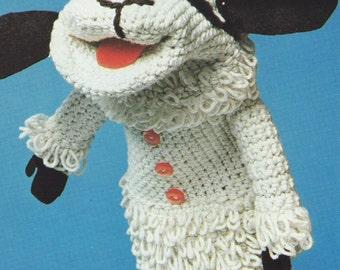 INSTANT DOWNLOAD PDF Vintage Crochet Pattern  Lambchop Glove Puppet   Toy  Sheep Lamb Chop Retro
