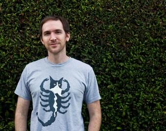 Tuxedo Cat Scorpion Shirt - Black and White Cat Creature Novelty Mens Shirt S9YUcNAT
