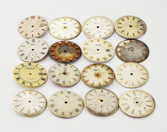 Faces for jewelry clock face metal parts assemblage supplies Watch repair Steampunk industrial watch jewelry mixed media antique gears