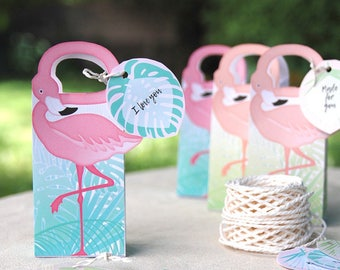 Flamingo Party Gift Box Printable, Flamingo favor bag + editable palm tags, Flamingo party favors, flamingo wedding, instant download