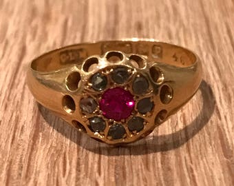 An 18k Gold Victorian Diamond and Ruby Ring, 1864