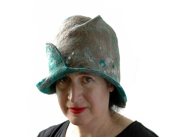 Nature Inspired Felted Cloche in Light Brown and Green with Abstract Sheep Motif - Bell Shaped Woman's Hat for Chic Hiking