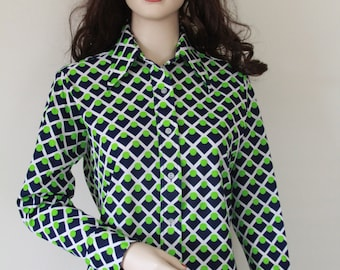 Vintage 1970's Ms. Limited Blouse, Navy, White, and Lime Graphic Design, In Wonderful Clean Condition, Vintage Theme Party, Halloween!