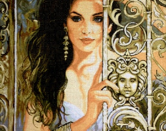 "Gobelin Tapestry Needlepoint Kit ""Lady"" printed canvas 591"
