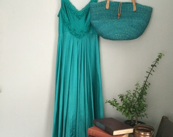 Jewel-tone Green Maxi Slip with Lace Detail