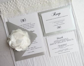 Wedding Invitation Template  - Style S14 - Elegant Wedding COLLECTION | Invitation | RSVP Card | Details Card