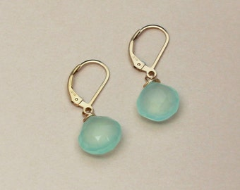 Aqua Blue Chalcedony Earrings, Gold or Silver Leverbacks, Beach Wedding Jewelry, Small Drop Earring