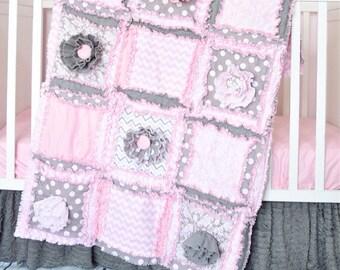 Baby Bedding Baby Girl Crib Set - Pink / Grey Crib Bedding - Princess Crib Set - Girl Nursery - Crib Quilt / Sheet / Skirt - Floral Crib Set