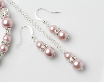Dusty rose Bridesmaid jewelry set, dusty pink earrings and necklace, dusty pink wedding, dusty rose pearl jewelry set, bridesmaid gift