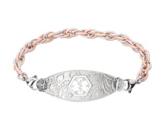 Divoti Custom Engraved Lovely Filigree Medical Alert Bracelet -Inter-Mesh Rose Gold/Silver Chain -White -5624WH