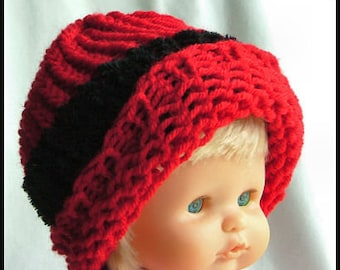 Toddler/Baby Knit Hat, Cozy Red and Black