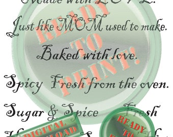 Food Photo Overlay Digital Old World Food Blog Cooking Blog Photograph Kit Made with LOVE Fresh from the OVEN From the HEART Spicy Hot Juicy