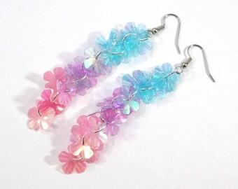 Flower Earrings Spring Earrings Iridescent Pastel Floral Dangles Long Cluster Earrings Plastic Sequin Jewelry