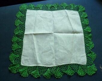 Linen Handkerchief Hand Crocheted Vintage Hankies Never Used