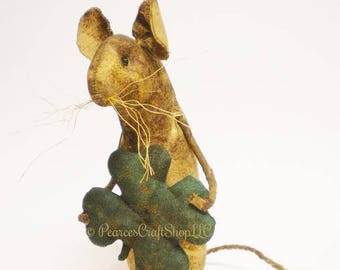 Extreme Primitive Shamrock Mouse -  Made To Order, St. Patrick's Day Mouse, Country Mice