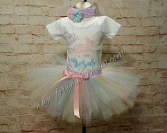 Girl's Easter tutu outfit, infant Easter outfit, Easter is for Jesus, Easter Tutu Set