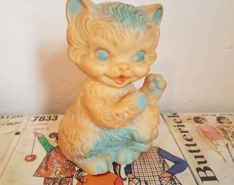 Kitsch Vintage small White and blue squeaky kitty  kitten cat Mobley style nursery decor squeak toy collectable baby shower