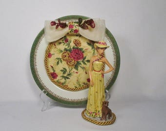Lady in a Yellow Dress and Matching Decorative Plate-OOAK