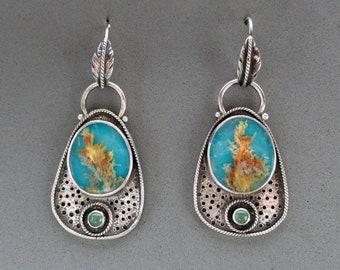 Regency Plume Agate Turquoise Doublet Dangle Earrings, Sterling Silver