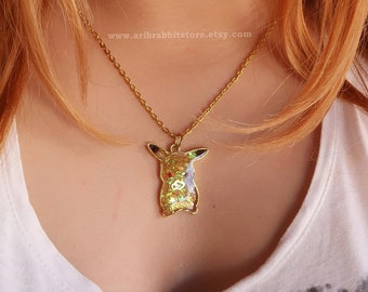 Resin Gold Pikachu Heart stars From Pokemon key Charm Shiny Necklace Jewelry (for present,christmas,valentine,children,cosplay ,etc)