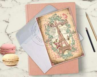 Handmade Greeting Card - Eiffel Tower - Bonjour Paris - French style - Shabby Chic Style - Blank inside - All occations card