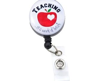 Teacher Badge Reel// Teacher Retractable Badge Holder/ ID Badge Clip