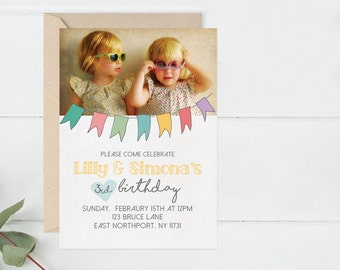 Kids Birthday, Twins Birthday Invitation, Birthday Invite, Birthday Party Invitation, Kids Birthday Photo Card, (A4.Invite)
